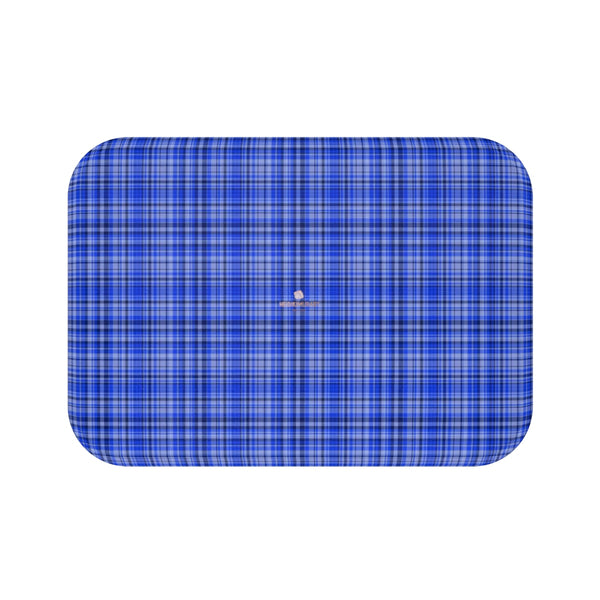 Blue Tartan Plaid Print Designer Bathroom Anti-Slip Microfiber Bath Mat-Printed in USA-Bath Mat-Small 24x17-Heidi Kimura Art LLC