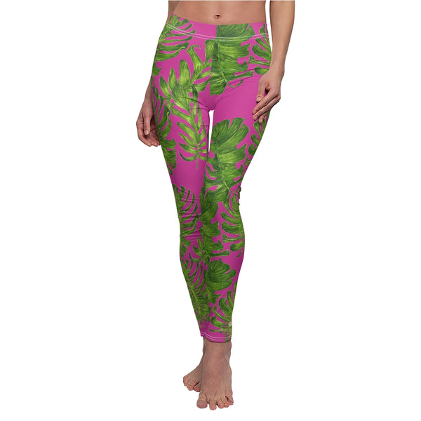 Hot Pink Green Tropical Leaf Print Women's Dressy Long Casual Leggings- Made in USA-Casual Leggings-White Seams-M-Heidi Kimura Art LLC