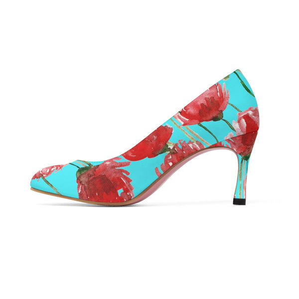 "Japanese Geisha Beauty Red Poppy Flower in Blue Designer Women's 3"" High Heels-3 inch Heels-Heidi Kimura Art LLC"