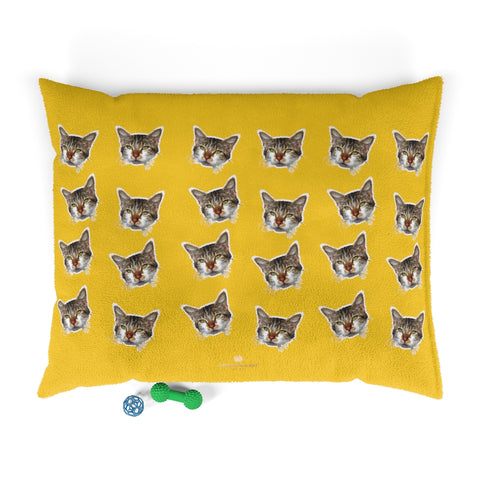 Yellow Cat Pet Bed, Solid Color Machine-Washable Pet Pillow With Zippers-Printed in USA-Pets-Printify-50x40-Heidi Kimura Art LLC