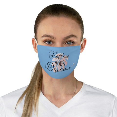 "Blue Motivational Face Mask, Inspirational Quotes Fashion Face Mask For Men/ Women, Designer Premium Quality Modern Polyester Fashion 7.25"" x 4.63"" Fabric Non-Medical Reusable Washable Chic One-Size Face Mask With 2 Layers For Adults With Elastic Loops-Made in USA"