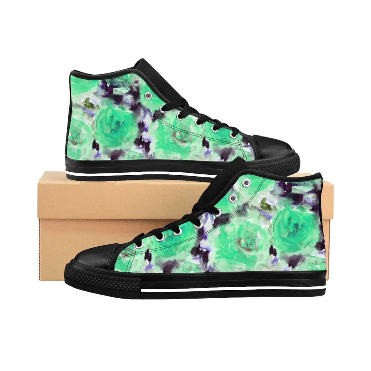 Turquoise Blue Rose Floral Print Designer Women's High Top Sneakers (US Size: 6-12)-Women's High Top Sneakers-US 9-Heidi Kimura Art LLC Turquoise Rose Floral Sneakers, Modern Feminine Minimalist Turquoise Blue Rose Floral Print Designer Women's High Top Sneakers (US Size: 6-12)