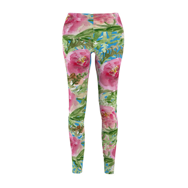 Blue Pink Floral Print Women's Casual Leggings-Made in USA(US Size: XS-2XL)-Casual Leggings-M-Heidi Kimura Art LLC