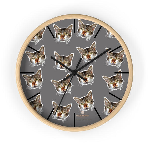 "Gray Cat Print Wall Clock, Cute Calico Cat Unique 10"" Dia. Indoor Wall Clocks- Made in USA-Wall Clock-10 in-Wooden-Black-Heidi Kimura Art LLC"
