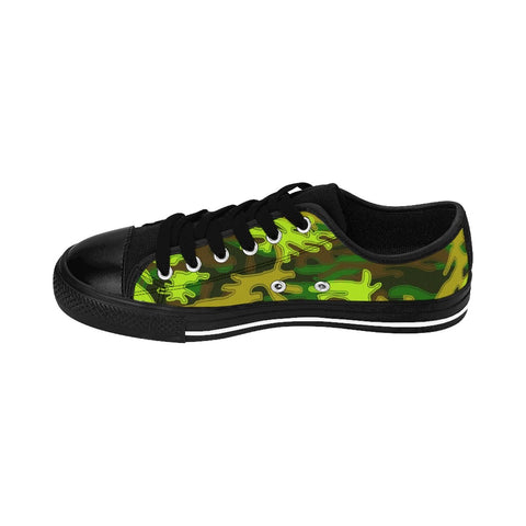Bright Green Camo Military Army Print Premium Men's Low Top Canvas Sneakers Shoes-Men's Low Top Sneakers-Heidi Kimura Art LLC Green Camo Men's Low Tops, Bright Green Camouflage Military Army Print Designer Men's Running Low Top Sneakers Shoes, Men's Designer Camo Print Tennis Shoes (US Size 7-14)