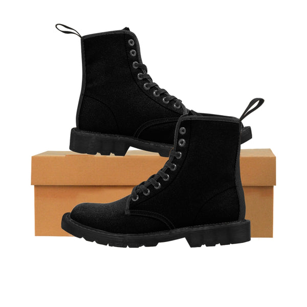 Women's Black Canvas Boots, Solid Color Modern Essential Winter Boots For Ladies-Shoes-Printify-Black-US 9-Heidi Kimura Art LLC