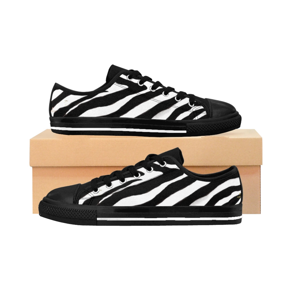 Classic Zebra Men's Sneakers, Zebra Stripe Animal Print Low Top Shoes-Shoes-Printify-Black-US 9-Heidi Kimura Art LLCClassic Zebra Men's Sneakers, Zebra Stripe Animal Print Men's Low Tops, Premium Men's Nylon Canvas Tennis Fashion Sneakers Shoes (US Size: 7-14)