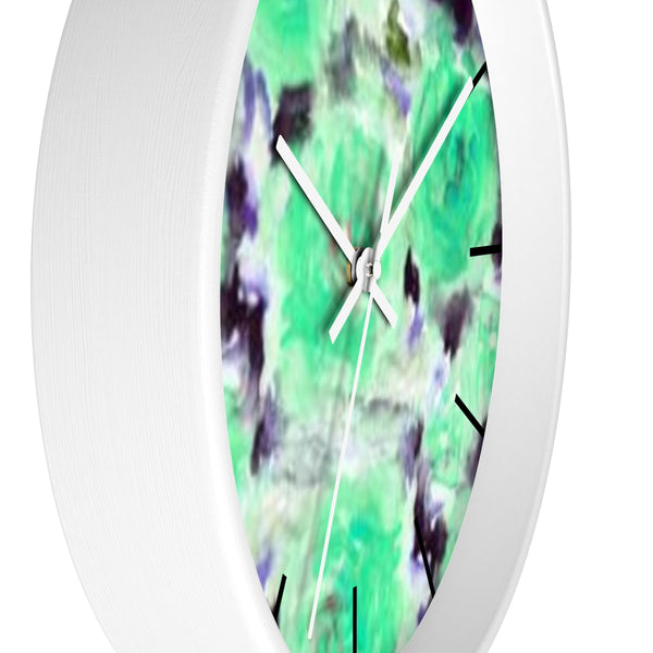 "Turquoise Blue Floral Print Abstract Rose 10"" Diameter Wall Clock - Made in USA-Wall Clock-Heidi Kimura Art LLC"
