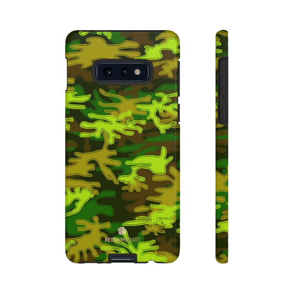 Green Camouflage Phone Case, Army Military Print Tough Designer Phone Case -Made in USA-Phone Case-Printify-Samsung Galaxy S10E-Glossy-Heidi Kimura Art LLC