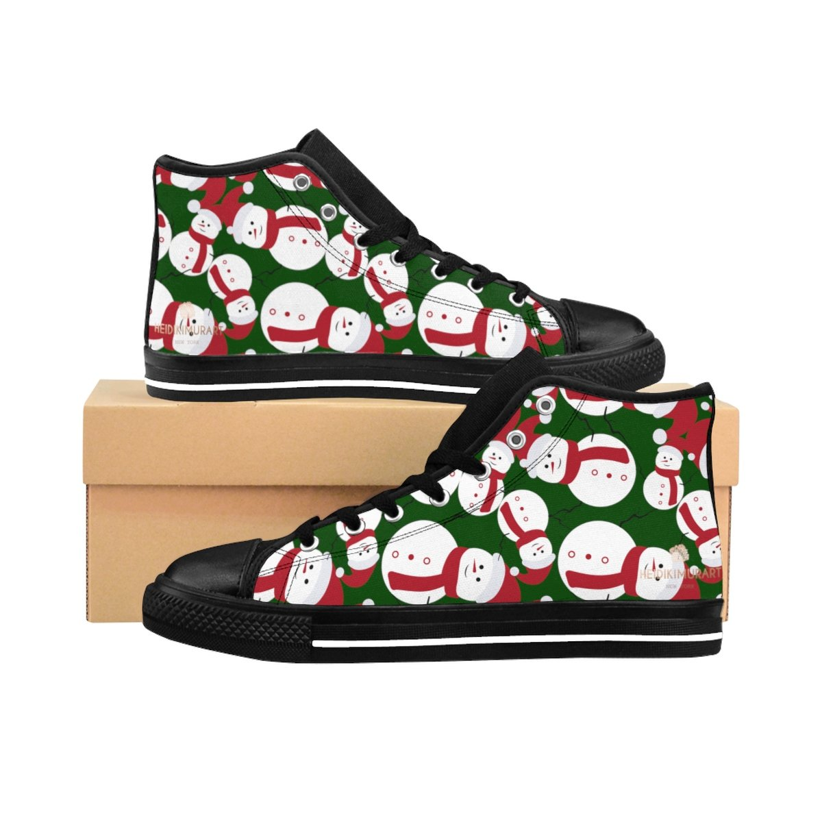 Dark Green Cute Christmas Red White Snowman Men's High-Top Sneakers-Men's High Top Sneakers-Black-US 9-Heidi Kimura Art LLC