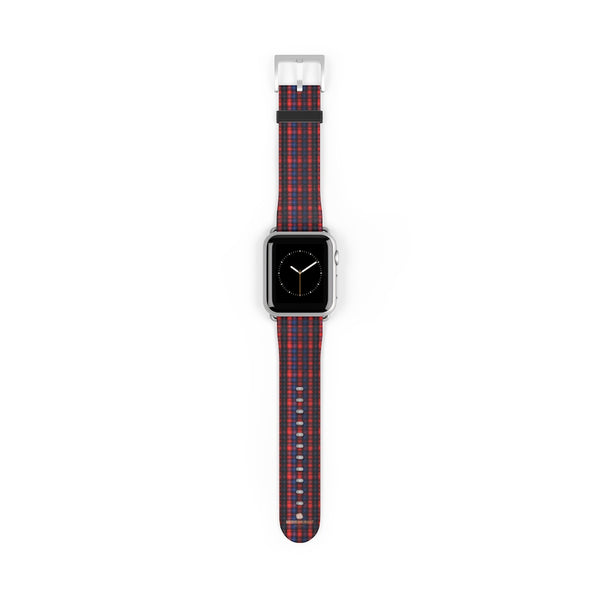 Red Blue Plaid Tartan Print 38mm/42mm Watch Band For Apple Watch- Made in USA-Watch Band-38 mm-Silver Matte-Heidi Kimura Art LLC
