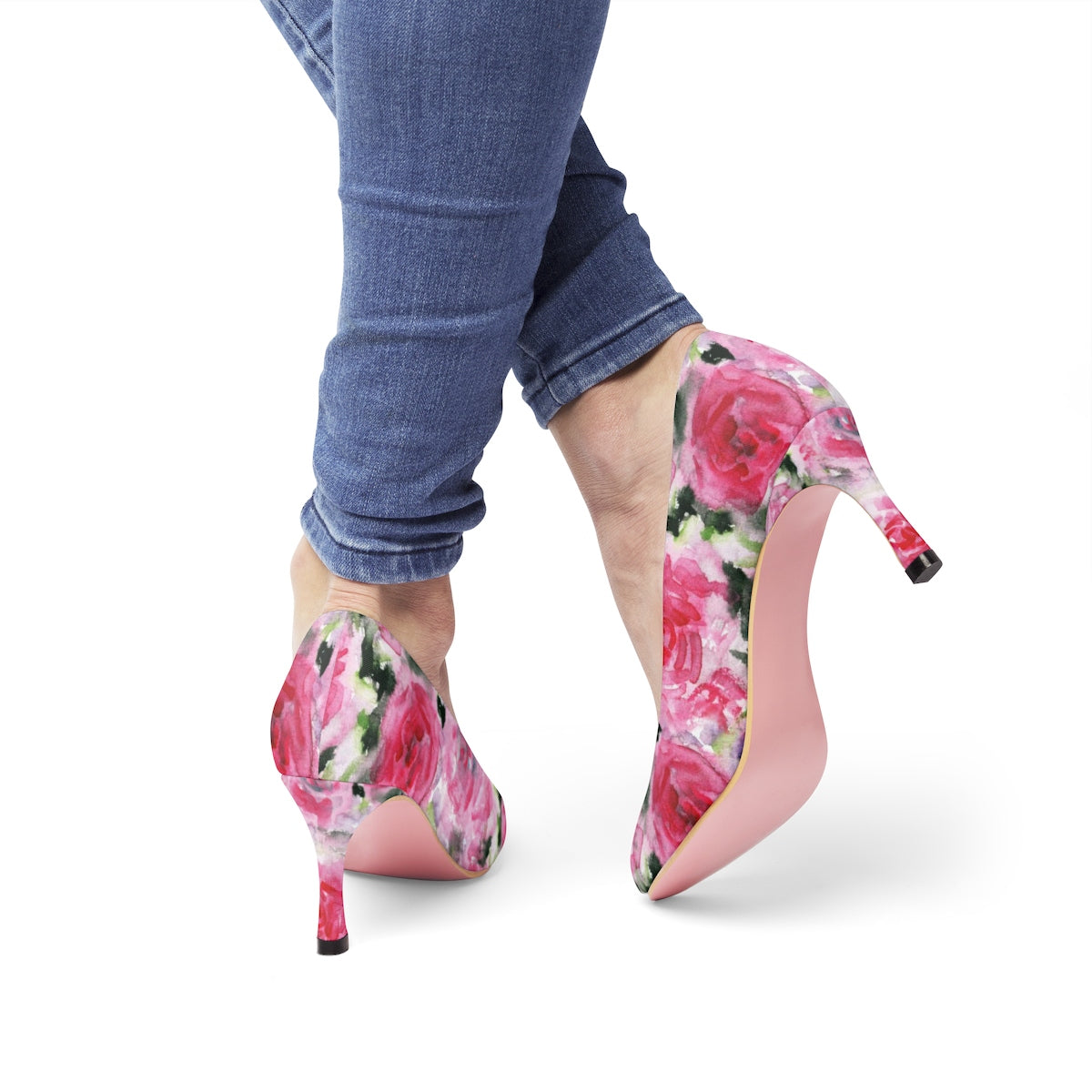 "Pink Princess Rose Designer Japanese Floral Print Women's 3"" High Heels Pumps Shoes-3 inch Heels-US 7-Heidi Kimura Art LLC Pink Floral Heels, Pink Princess Rose Designer Japanese Floral Print Women's 3"" High Heels Pumps Shoes (US Size: 5-11)"
