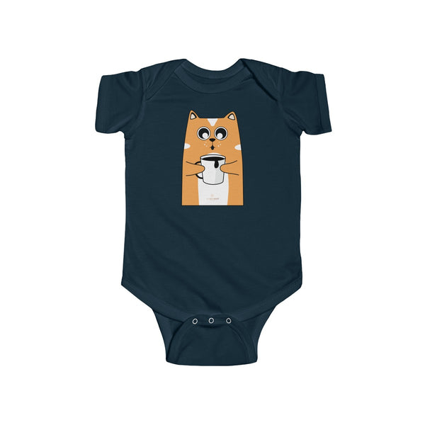 Orange Cat Loves Coffee Infant Fine Jersey Regular Fit Unisex Bodysuit - Made in UK-Infant Short Sleeve Bodysuit-Navy-NB-Heidi Kimura Art LLC