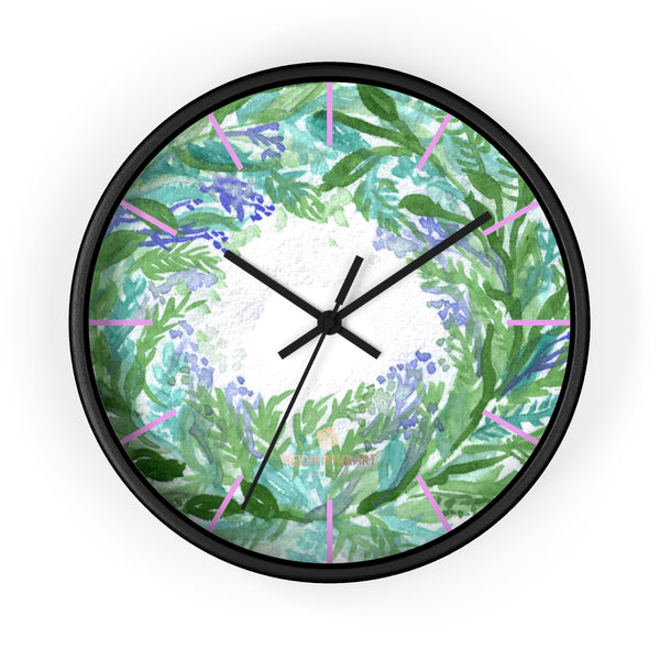 Violet Purple Pastel Color French Lavender 10 in. Dia. Indoor Wall Clock- Made in USA-Wall Clock-10 in-Black-Black-Heidi Kimura Art LLC