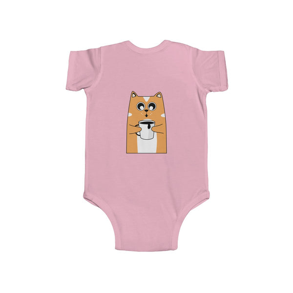 Orange Cat Loves Coffee Infant Fine Jersey Regular Fit Unisex Bodysuit - Made in UK-Infant Short Sleeve Bodysuit-Heidi Kimura Art LLC