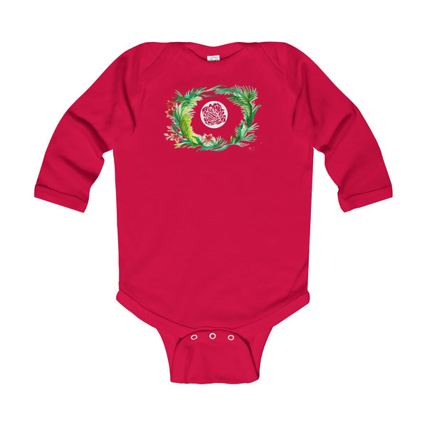 Fall Floral Print Baby's Infant Cotton Long Sleeve Bodysuit -Made in UK (UK Size: 6M-24M)-Kids clothes-Red-12M-Heidi Kimura Art LLC