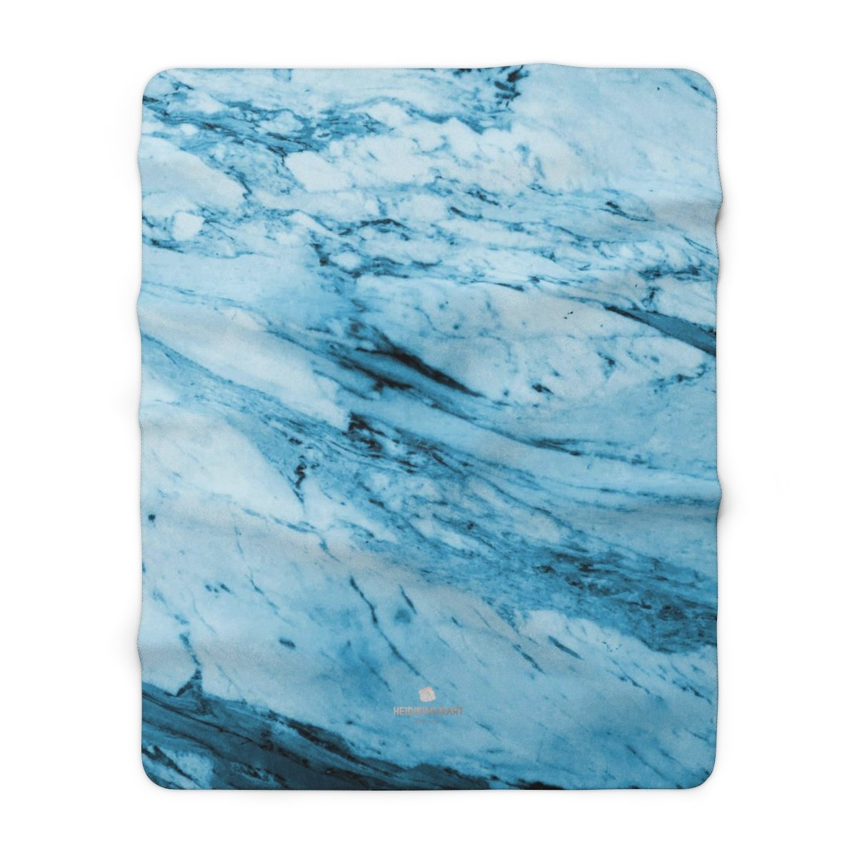 "Modern Blue Marble Abstract Print Designer Cozy Sherpa Fleece Blanket-Made in USA-Blanket-60"" x 80""-Heidi Kimura Art LLC"