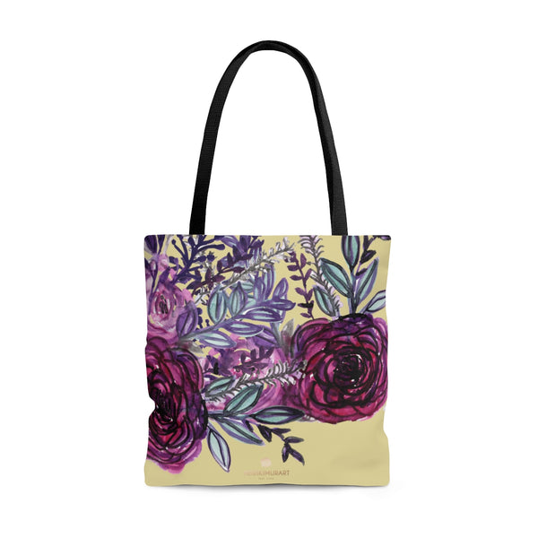 Pastel Yellow Rose Flower Floral Print Designer Women's Tote Bag - Made in USA-Tote Bag-Large-Heidi Kimura Art LLC