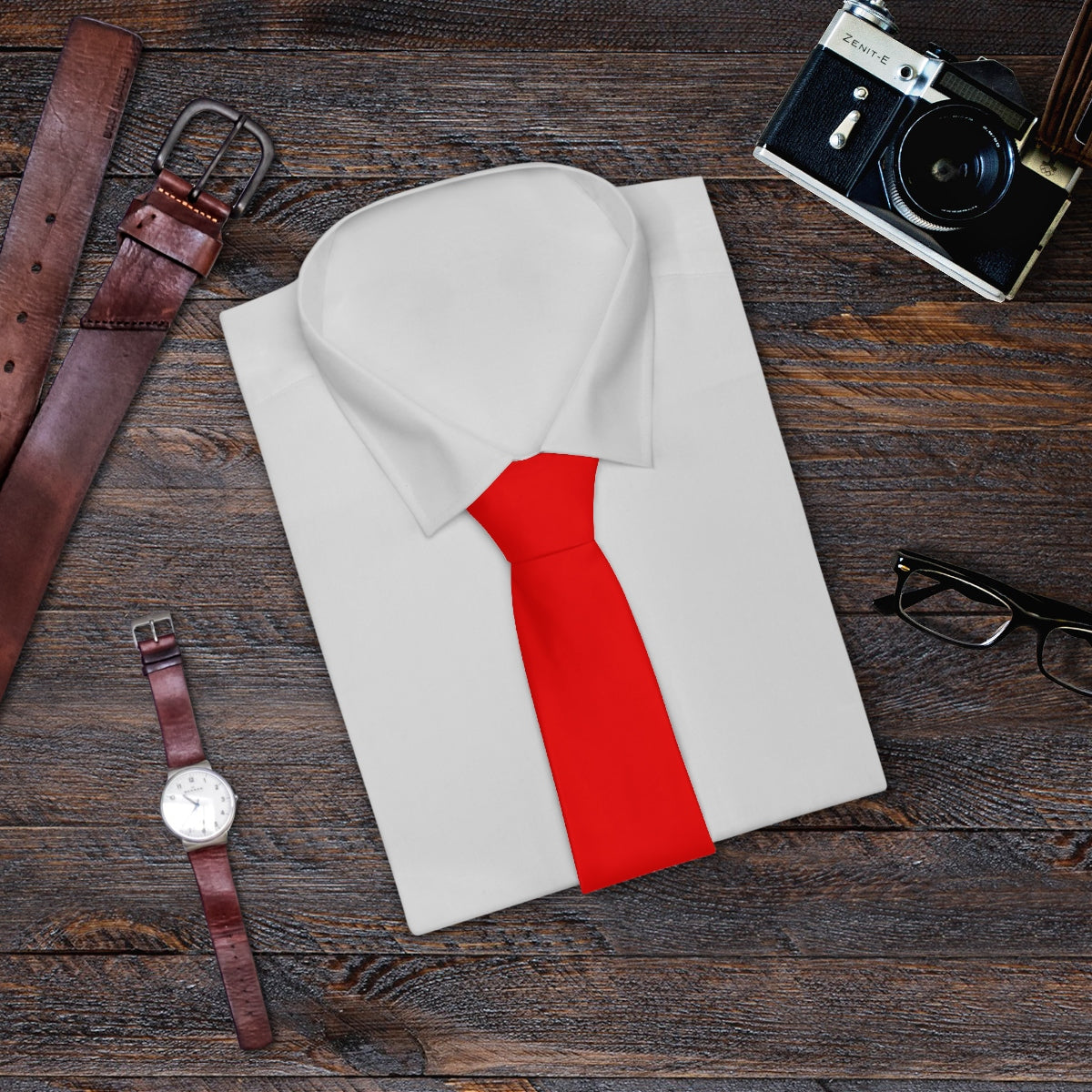 Hot Red Solid Color Printed Soft Satin Finish Classic Mens Fashion Necktie- Made in USA-Necktie-One Size-Heidi Kimura Art LLC