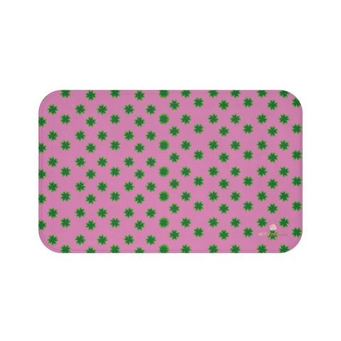 Pink Green Clover Print St. Patrick's Day Bathroom Microfiber Bath Mat- Printed in USA-Bath Mat-Large 34x21-Heidi Kimura Art LLC