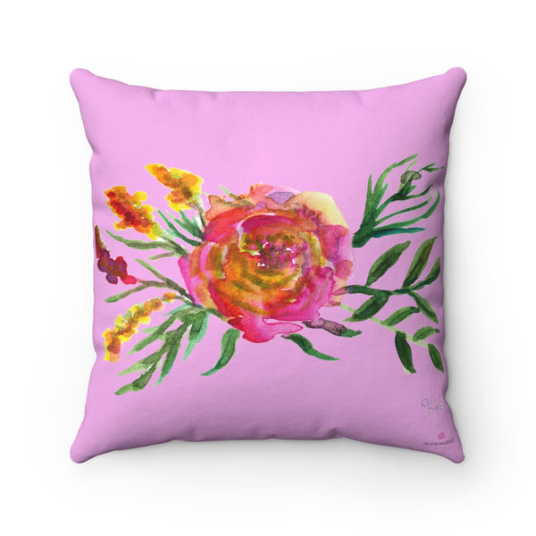 "Cute Pink Rose Floral Flower Watercolor Print Square Pillow 14""/16""/18""/20""-Pillow-Heidi Kimura Art LLC"