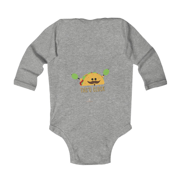 Taco Cute Funny Baby Boy or Girls Infant Kids Long Sleeve Bodysuit - Made in USA-Infant Long Sleeve Bodysuit-Heidi Kimura Art LLC