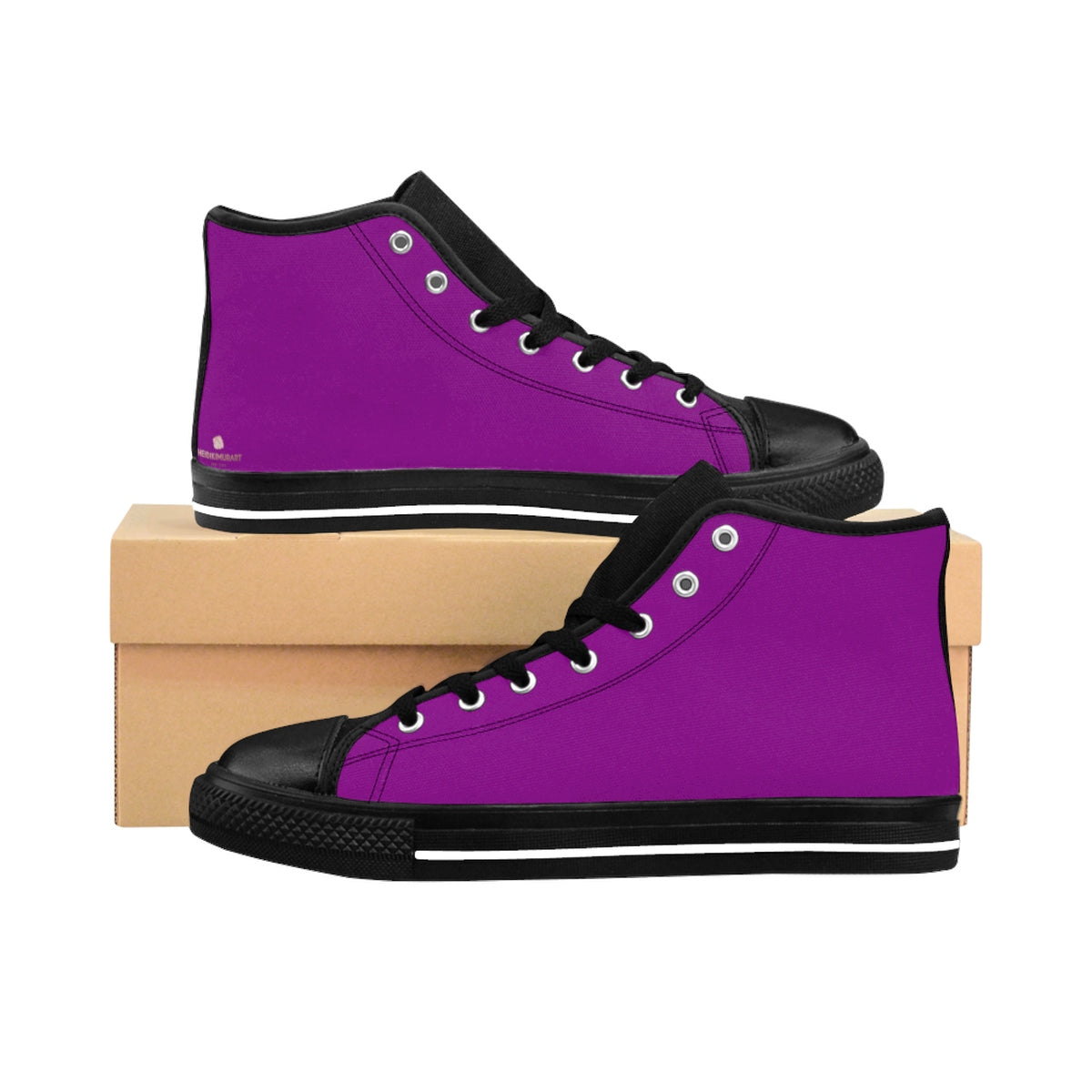 Imperial Purple Queen Solid Color Women's High Top Sneakers Running Shoes-Women's High Top Sneakers-US 9-Heidi Kimura Art LLC Purple Women's Running Shoes, Imperial Purple Queen Solid Color Women's High Top Sneakers Running Shoes (US Size: 6-12)