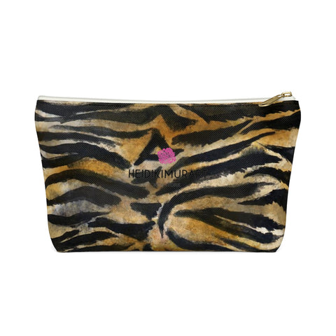 Wild Bengal Brown Tiger Stripe Animal Print Designer Small/Large Accessory Pouch-Accessory Pouch-White-Small-Heidi Kimura Art LLC
