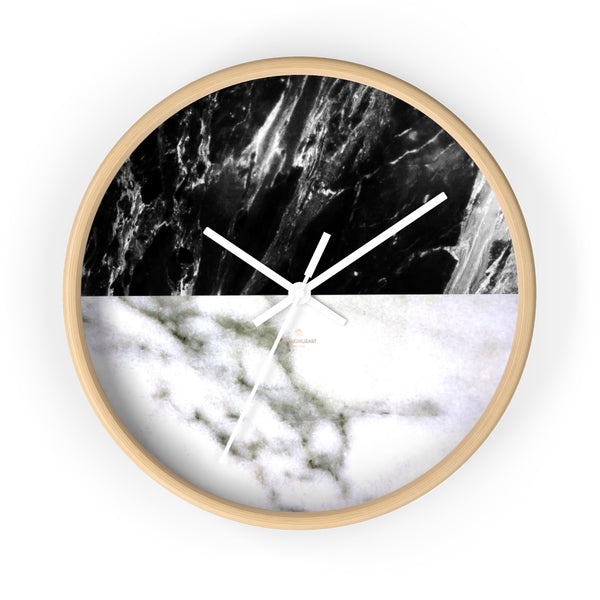 "White & Black Marble Print Art Large Indoor Designer 10"" dia. Wall Clock-Made in USA-Wall Clock-10 in-Wooden-White-Heidi Kimura Art LLC"