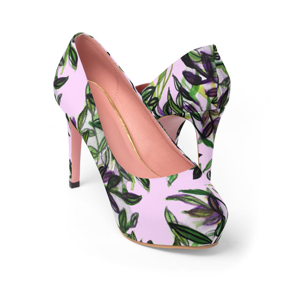 "Cherry Blossoms Floral Print Women's Light Pink Designer 4"" Platform Heels Shoes-4 inch Heels-US 7-Heidi Kimura Art LLC"