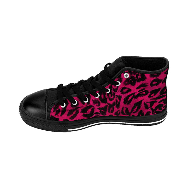 Hot Pink Leopard Animal Print Premium Men's High-top Fashion Sneakers Tennis Shoes-Men's High Top Sneakers-Heidi Kimura Art LLC