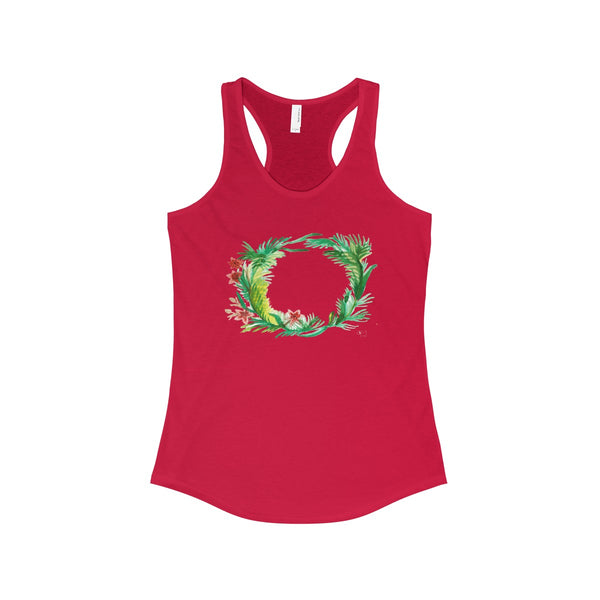 Floral Wreath Designer Floral Women's Ideal Racerback Tank - Made in U.S.A.-Tank Top-Solid Red-XS-Heidi Kimura Art LLC