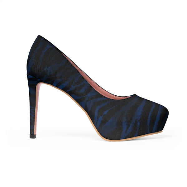 Navy Blue Warrior Tiger Stripe Animal Print Women's Platform Heels (US Size: 5-11)-4 inch Heels-Heidi Kimura Art LLC