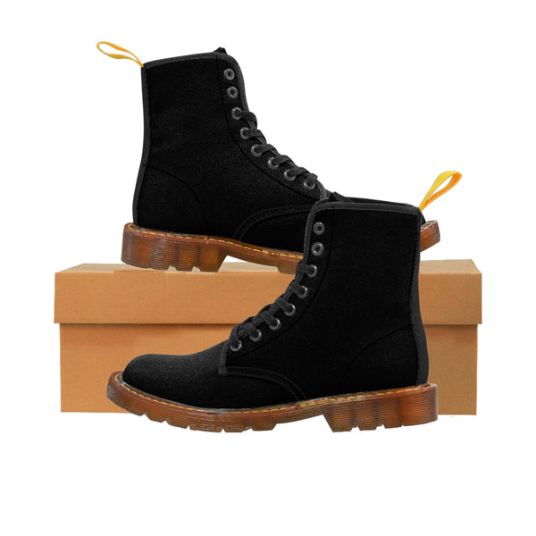 Women's Black Canvas Boots, Solid Color Modern Essential Winter Boots For Ladies-Shoes-Printify-Brown-US 8.5-Heidi Kimura Art LLC