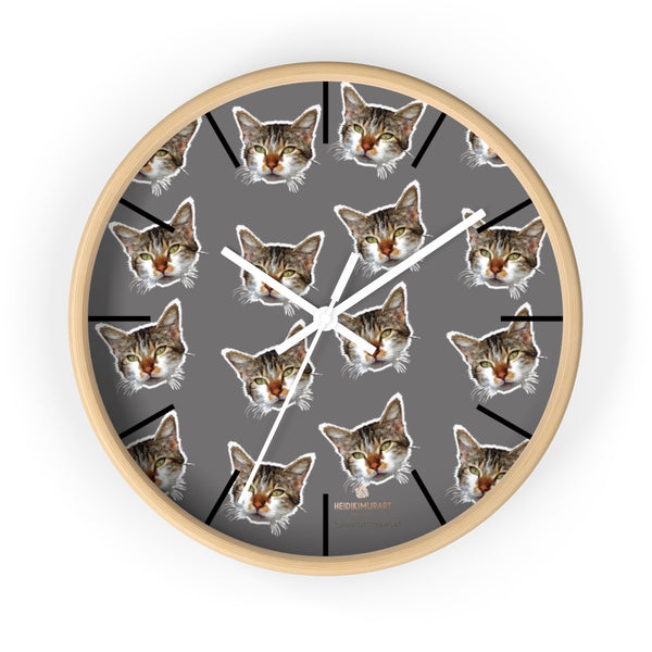 "Gray Cat Print Wall Clock, Cute Calico Cat Unique 10"" Dia. Indoor Wall Clocks- Made in USA-Wall Clock-10 in-Wooden-White-Heidi Kimura Art LLC"