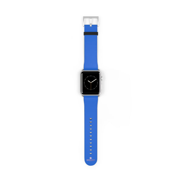 Blue Solid Color 38mm/42mm Watch Band Strap For Apple Watches- Made in USA-Watch Band-42 mm-Silver Matte-Heidi Kimura Art LLC