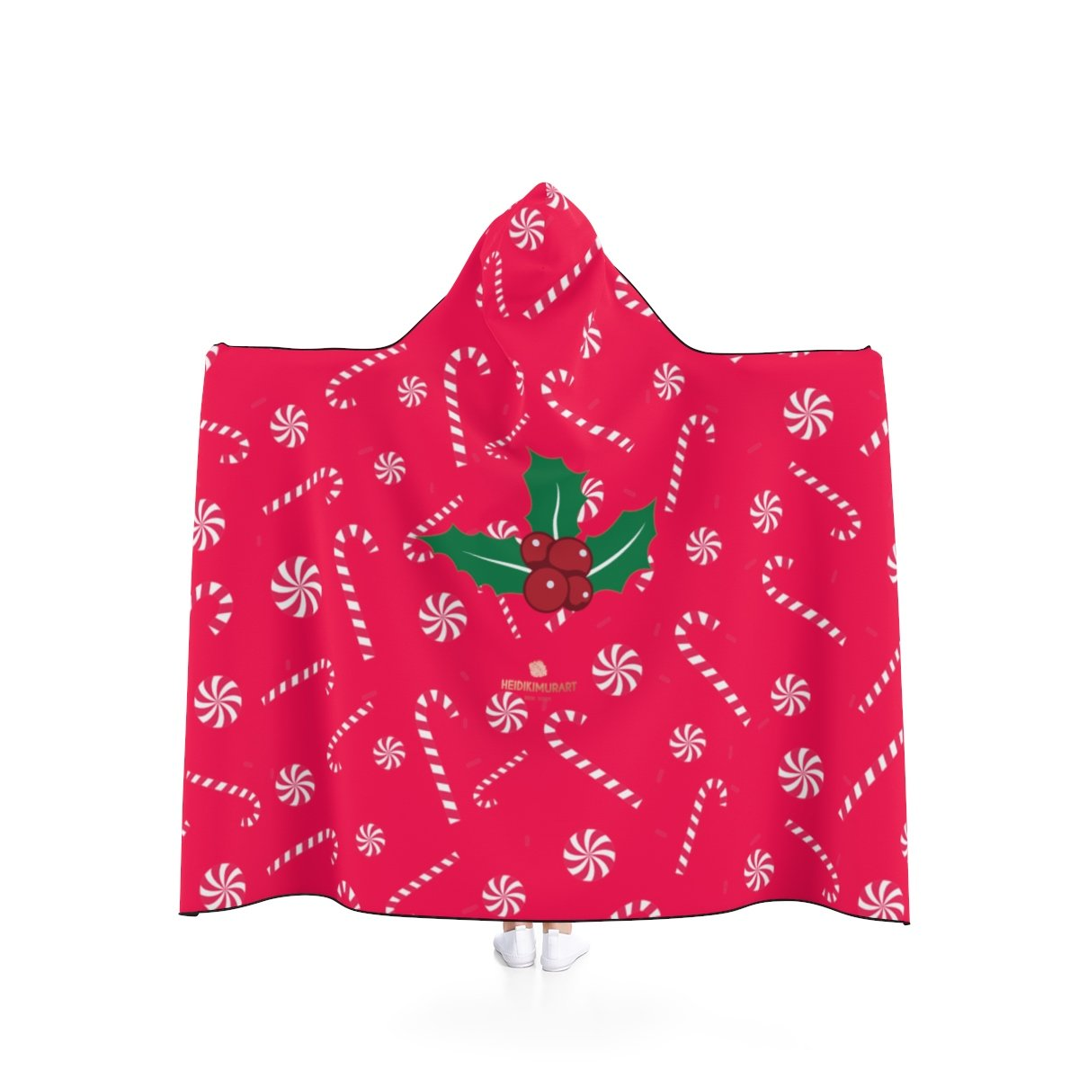 Comfy Lightweight Christmas Red Sugar Cane Designer Holiday Party Hooded Blanket-Hooded Blanket-80x56-Heidi Kimura Art LLC