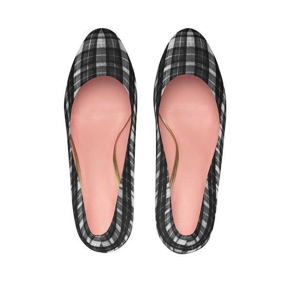 Black White Plaid Tartan Print Women's Platform Heels Stiletto Pumps (US Size: 5-11)-4 inch Heels-Heidi Kimura Art LLC