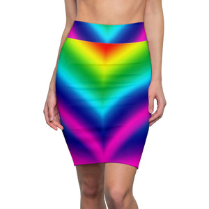 Rainbow Women's Pencil Skirt, Gay Pride Designer Skirt
