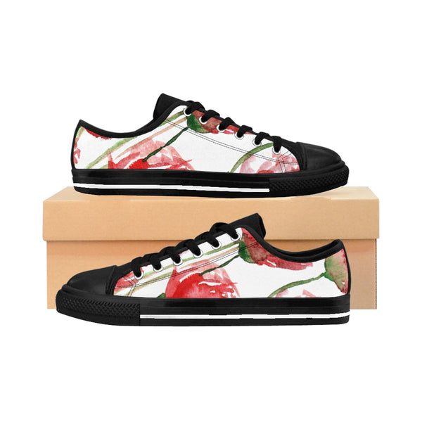 Red Poppy Bloom Floral Designer Women's Low Top Sneakers Running Shoes-Women's Low Top Sneakers-US 10-Heidi Kimura Art LLC