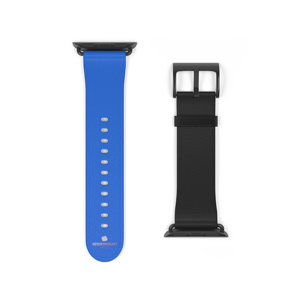 Blue Black Duo Solid Color Print 38mm/42mm Watch Band For Apple Watch- Made in USA-Watch Band-38 mm-Black Matte-Heidi Kimura Art LLC