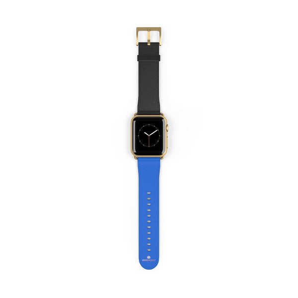 Blue Black Duo Solid Color Print 38mm/42mm Watch Band For Apple Watch- Made in USA-Watch Band-Heidi Kimura Art LLC Blue Black Apple Watch Band, Blue Black Duo Solid Color Print 38 mm or 42 mm Premium Best Printed Designer Top Quality Faux Leather Comfortable Elegant Minimalist Smart Watch Band Strap, Suitable for Apple Watch Series 1, 2, 3, 4 and 5 Smart Electronic Devices - Made in USA