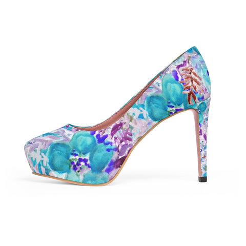 "Blue Floral Women's Platform Heels, Mixed Abstract Flower Print Premium Quality Designer Women's Platform Heels Stiletto Pumps 4"" Heels (US Size: 5-11)"