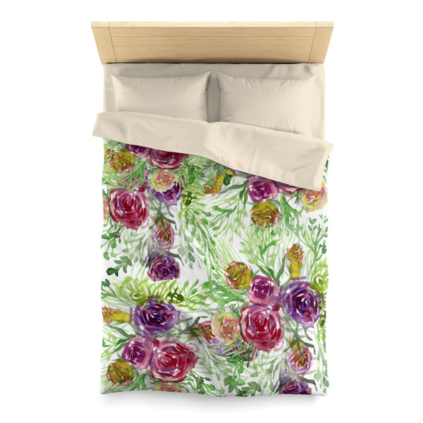 Purple Garden Floral Rose Soft Polyester Microfiber Duvet Cover-Made in USA-Duvet Cover-Twin-Cream-Heidi Kimura Art LLC