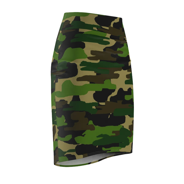 Green Camouflage Women's Pencil Skirt