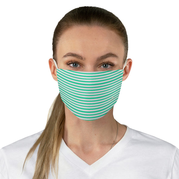 "Turquoise Blue Striped Face Mask, Designer Horizontally Stripes Fashion Face Mask For Men/ Women, Designer Premium Quality Modern Polyester Fashion 7.25"" x 4.63"" Fabric Non-Medical Reusable Washable Chic One-Size Face Mask With 2 Layers For Adults With Elastic Loops-Made in USA"