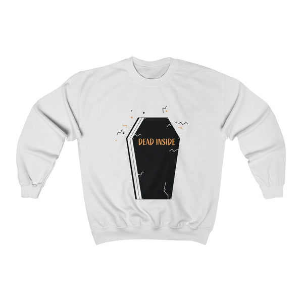 Dead Inside Coffin Halloween Party Unisex Premium Crewneck Sweatshirt-Made in USA-Long-sleeve-White-S-Heidi Kimura Art LLC