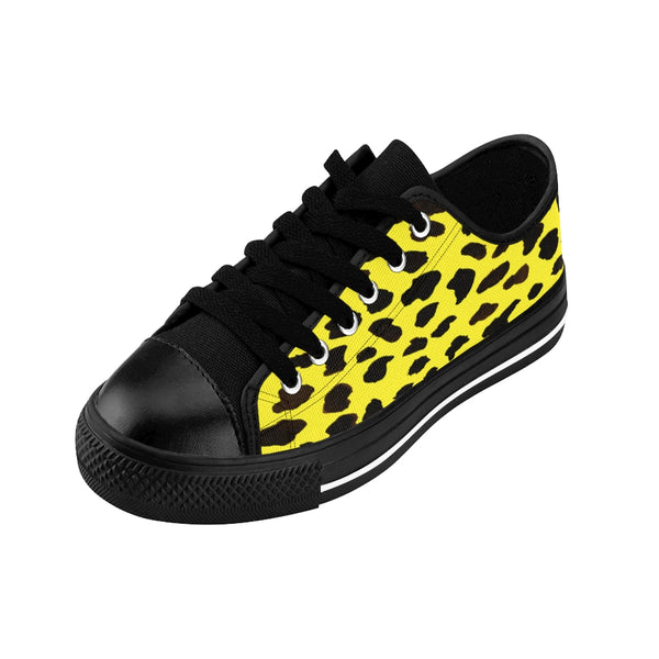 Yellow Leopard Men's Sneakers, Cheetah Animal Print Fashion Designer Men's Low Tops, Premium Men's Nylon Canvas Tennis Fashion Sneakers Shoes (US Size: 7-14)