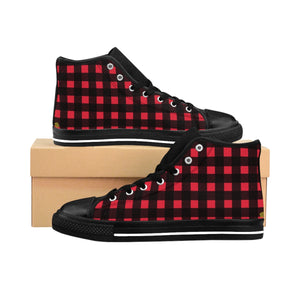 Buffalo Red Plaid Print Men's High-top Sneakers Running Shoes (US Size: 6-14)-Men's High Top Sneakers-Black-US 9-Heidi Kimura Art LLC