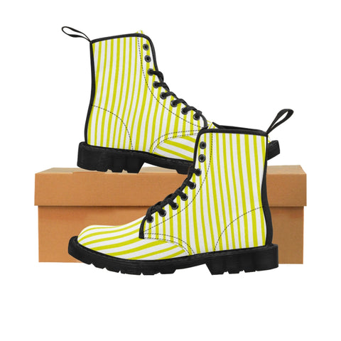 Yellow Striped Women's Canvas Boots, Vertically White Striped Print Winter Boots For Ladies-Shoes-Printify-Black-US 9-Heidi Kimura Art LLC Yellow Striped Women's Canvas Boots, Vertically White Striped Print Designer Women's Winter Lace-up Toe Cap Boots Shoes For Women, Striped Boots For Women For Sale (US Size 6.5-11)